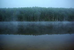 The mystical fog on the lake. Mystical mysterious fog on the lake early in the morning Stock Image
