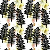 Mystical forest with many openwork unusual Christmas trees and bright abstract watercolor scour and stained seamless pattern vector illustration