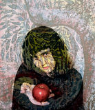 Mystical Garden. Painting of a woman in the garden holding an apple. Fairytale fantasy, with hidden meaning and metaphors. The white waits for snow white to take Stock Photos