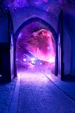 Mystical gate. Opened mystical gate with starry Universe like a concept of soul, Universe, spiritual world, 2012 year Stock Images
