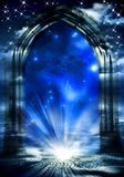 Mystical gate of dreams. Mystical gate with rays of divine light and night sky and starry blue Universe with copy space vector illustration