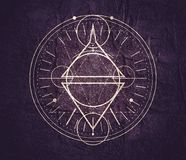 Mystical occult symbol. Mystical geometry symbol. Linear alchemy, occult, philosophical sign. For music album cover, poster, sacramental design. Astrology and royalty free stock images