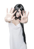 Mystical ghost woman isolated. Focus on hands Royalty Free Stock Photos