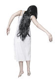 Mystical ghost woman in white long hands back Stock Photo