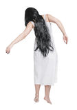 Mystical ghost woman in white long shirt back Royalty Free Stock Photos