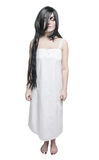 Mystical ghost woman in white long shirt Royalty Free Stock Image