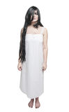Mystical ghost woman in white long shirt Stock Images