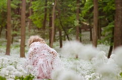 Mystical girl in woods Royalty Free Stock Photography