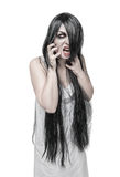 Mystical Halloween ghost angry screaming woman. Isolated Royalty Free Stock Photos