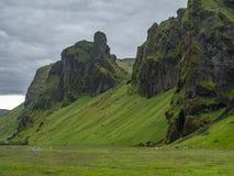 Mystical Icelandic landscape. Mystical Icelandic foggy green landscape stock photography