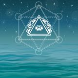 Mystical image of a pyramid, providence eye, profile of the person. Sacred geometry. Esoteric, mystic, occultism. Background - the night stellar sky, ocean vector illustration