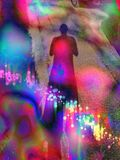 Long shadow of male cast on ground with a psychedelic trippy foreground. Mystical image of shadow surrounded by psychedelic splashes of colours Stock Photos