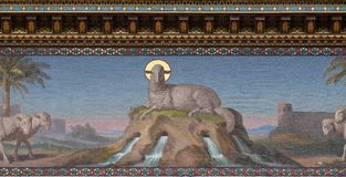 Mystical Lamb. Mosaic of Mystical Lamb, Basilica of Saint Paul outside the walls, Rome, Italy Royalty Free Stock Images