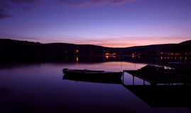 Mystical landscape, the boat harbor at dawn Royalty Free Stock Image