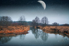 Mystical landscape of the moon. Royalty Free Stock Image