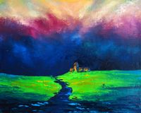 Mystical Landscape - Original oil painting on canvas - Field after rain and thunderstorm - The Enchanting Power of Nature - Modern. Original oil painting on Royalty Free Stock Photo