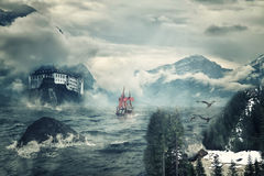 Mystical landscape with peaks of mountains Royalty Free Stock Photos