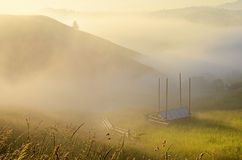 Mystical landscape with slopes of the mountains in the morning m Royalty Free Stock Image