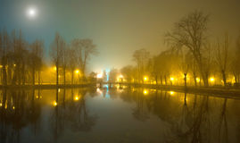 Mystical landscape with trees near the pond in misty autumn even. Ing in the moonlight Stock Photography