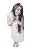 Mystical mad laughing ghost woman isolated Stock Image