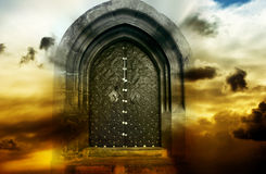 Mystical magic gate. In cloudy sky with copy space stock images