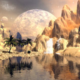 Mystical moon landscape Stock Image