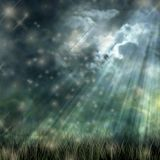 Mystical moonlight flowing from dark sky to the ground Stock Photos