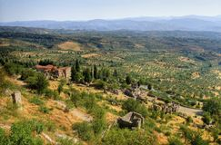 Mystical Mystras. The historical site of Mystras, a Byzantine castle in Greece Stock Photo