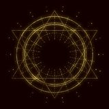 Mystical occult symbol. Mystical geometry symbol. Linear alchemy, occult, philosophical sign. For music album cover, poster, sacramental design. Astrology and royalty free illustration
