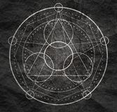Mystical occult symbol. Mystical geometry symbol. Linear alchemy, occult, philosophical sign. For music album cover, poster, sacramental design. Astrology and stock photos
