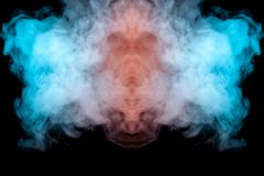 Mystical pattern of green, blue and pink colored smoke in the shape of a ghost`s face with big eyes and an open mouth creating a vector illustration