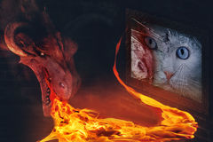 Mystical portrait. Illustration - breathing fire demon, trying to burn a portrait of a beautiful white cat Stock Images