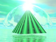 Mystical pyramid - 3D render. Pyramid upon water and leading to the sun in green background - 3D render stock illustration