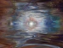 Mystical Reflections. Abstract liquid horizon Stock Photos