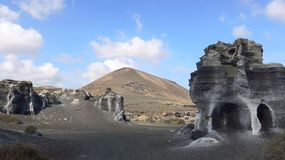 Mystical rock landscape on the island Lanzarote, Spain.  royalty free stock image