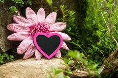 Mystical rockery with a pink heart and imitation flower Stock Photo