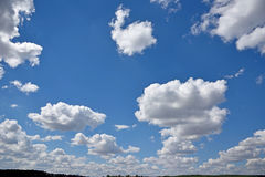 Mystical rows of clouds in the sky (natural background - concept Royalty Free Stock Photography