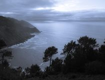 Mystical scenery on atlantic coastline just before sunset Royalty Free Stock Photos