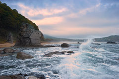 Mystical Sea coast after the typhoon. Royalty Free Stock Photo