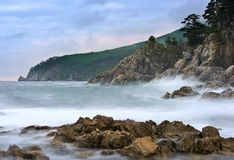 Mystical Sea coast after the typhoon. Stock Photo