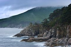 Mystical Sea coast after the typhoon. Royalty Free Stock Images
