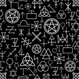Mystical seamless pattern on black background Royalty Free Stock Photography