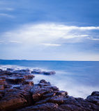 Mystical Seascape at Evening. Adriatic Sea. Long Exposure. Smooth Water. Stock Photos