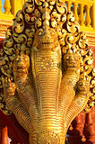 Mystical Serpent on Buddhist Temple Royalty Free Stock Images