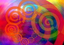 Mystical spirals. With colorful background stock illustration