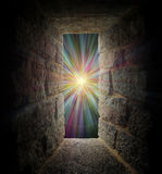 Mystical stone window or portal to a pastel vortex