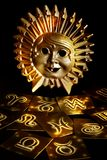 Mystical sun. With astrological symbols in yellow tonality Stock Image