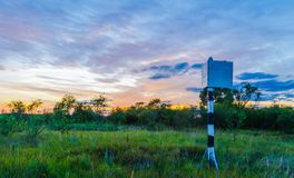 Mystical sunset on the background of a beautiful sky and green vegetation on nature. Belarusian esie. Pripyat stock photo