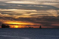 Mystical sunset on the Baltic Sea Stock Photos
