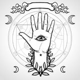 Mystical symbol: human hand, Eye of Providence, sacred geometry. Alchemical circle of transformations. Vector illustration isolated on a gray background. Print vector illustration